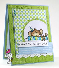 Birthday Monkey Candle by Kathleen Curry - Cards and Paper Crafts at Splitcoaststampers - Love how the coloring of the image nicely pulls the components together