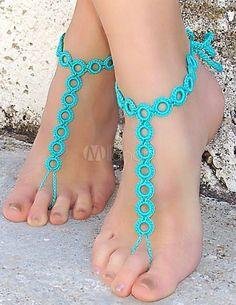 Sandálias das mulheres com os pés descalços de crochê azuis círculos boêmios - Milanoo.com