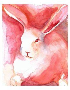 Parfait - Rabbit Art gotta love a pink bunny Watercolor Animals, Watercolor Paintings, Ink Painting, Watercolour, Lapin Art, Rabbit Art, Pink Rabbit, Bunny Art, Parfait