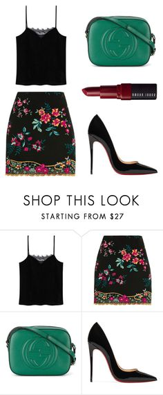 """""""green flowers"""" by natalialima0502 on Polyvore featuring MANGO, Topshop, Gucci, Christian Louboutin e Bobbi Brown Cosmetics"""