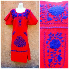 Bohemian Gypsy Red Embroidered dress//Mexican dress