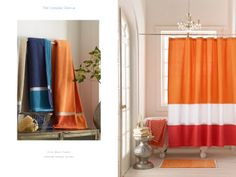 Color Block Towels and Lakeside Shower Curtain