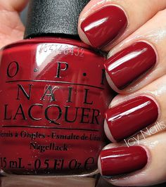Icy Nails: OPI Lost on Lombard: Swatch and Review. Please click through for my review and more photos of this beautiful red creme.