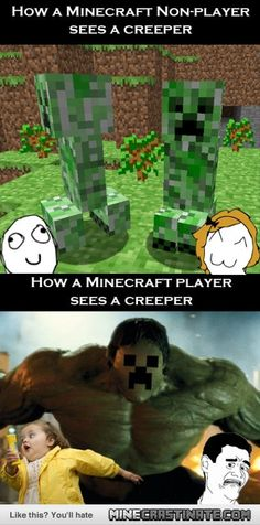 Minecraft Humor. How we see Creepers. xD SO TRUE!!! LOLZ #Minecraft #MinecraftHumor