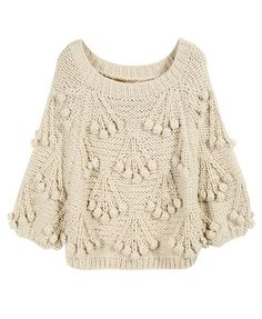 Beige Chunky Cherry Sweater.