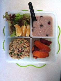 January 30 2013  Vegetarian lunch packed for today. Pretty much similar stuff since I prepare my meals in advance.  Mixed salad + organic tricolor quinoa burger + oat porridge with dried cranberry & blueberry + boiled organic sweet potatoes #eatclean #vegetarian