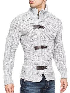 BALANDI Herren Strickjacke Strick Pullover Jacke Hoodie Hoody (M, Grau 540)