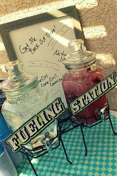 (Fueling station is a cool idea for candy bar) Race Car Birthday Party - Kara's Party Ideas - The Place for All Things Party Motocross Birthday Party, Motorcycle Birthday Parties, Dirt Bike Party, Dirt Bike Birthday, Motorcycle Party, Race Car Birthday, Race Car Party, Cars Birthday Parties, Boy Birthday