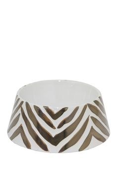 White & Bronze Ceramic Pet Bowl by Three Hands on @nordstrom_rack