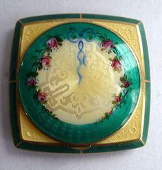 Antique Vintage Champleve Enamel Guilloche Compact