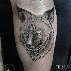 arcanae:  Raposinha que rolou ontem pro Wes, valeu a confiança! Aguentou super bem a primeira! #tattoo #fox