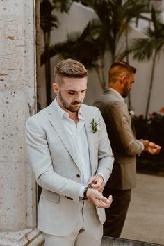 Our Destination Wedding at Flora Farms - Miranda Schroeder Linen Wedding Suit, Beach Wedding Groom Attire, Groom And Groomsmen Attire, Wedding Linens, Groom Outfit, Wedding Men, Wedding Suits, Summer Wedding, Dream Wedding