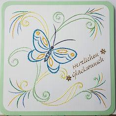 Grußkarten-Set 163 Motiv: Schmetterling 15 (KC044) Copyright des Motives: KarinsCreations.nl Doppelkarte mit Umschlag 13,5 x 13,5 cm