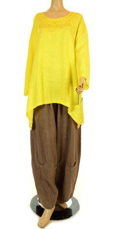 Sarah Santos Canary Yellow Linen Oversized Shirt-Sarah Santos, lagenlook, womens plus size UK clothing, ladies plus size lagenlook fashion clothing, plus size coats, plus size dresses, plus size jackets, plus size trousers, plus size skirts, plus size petticoats, plus size blouses, plus size shirts, plus size tops, plus size tunics, lagenlook plus size fashion clothing