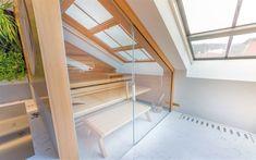 Model Lounge Q prémiové kvality německé firmy Klafs - sauna umístěna ve zkosené části prostoru Sauna, Lounges, Halle, Stairs, Loft, Bed, Furniture, Model, Home Decor