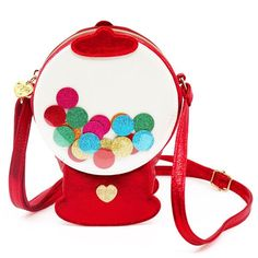 This Gumball Machine Charm Bag checks all of the 3 c's: cute, colorful, and ready for compliments! Crossbody charm bags are the ultimate accessory that add the fun to any outfit! Unique Handbags, Unique Purses, Unique Bags, Cute Purses, Purses And Handbags, Novelty Bags, Novelty Handbags, Gumball Machine, Glitter Fabric
