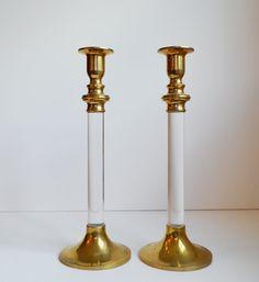Vintage Brass Candlesticks Brass and Lucite by JudysJunktion