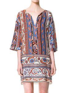 Zara paisley printed shift tunic dress with split neck, $60, zara.com.