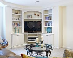 Corner Entertainment Center Design, pictures, remodeling, decor and ideas - For the Home - Entertainment Home Entertainment Centers, Corner Entertainment Unit, Tv Lateral, Corner Tv Cabinets, Cupboards, Corner Tv Unit, Corner Space, Room Corner, Corner Shelf