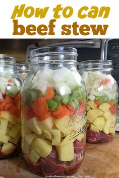 Easy recipe for pressure canning beef stew. Step by step instructions! Can now, and enjoy your delicious beef stew later! One of my favorite canning recipes for beginners. Easy recipe and instructions for canning beef stew with a pressure canner. Canning Soup Recipes, Easy Canning, Canning Tips, Canning Pesto, Easy Beef Stew, Homemade Beef Stew, Pressure Canning Meat, Pressure Cooking, Canning Food Preservation