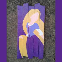 Rapunzel painting on reclaimed wood sign / Disney / Princess / Rapunzel Sign / Tangled gift / Adult Rapunzel Art Disney Princess Paintings, Disney Princess Crafts, Disney Paintings, Disney Crafts, Disney Art, Princess Rapunzel, Disney Canvas, Disney Ideas, Pallet Painting
