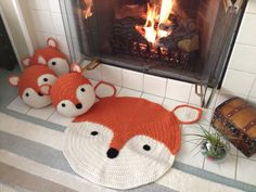 Crochet Fox Rug hand made rug Crochet rug by PeanutButterDynamite