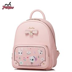 (53.19$)  Know more  - JUST STAR Women's Backpack Female Fashion PU Leather Cartoon Printing Travel Shoulder Bags Ladies Fresh Bow School Bags JZ4365