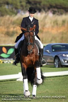 Lusitano - Portuguese international rider Maria Moura Caetano performing a Dressage demonstration