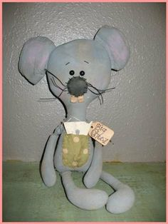 FTFD 27 - Prim The Big Cheese - Mouse or Rat - Primitive Old Rag Doll e-pattern