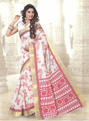 Off White and Red Color Cotton Casual Wear Sarees : Sugandha Collection YF-37555