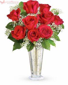 Dragoste Nemuritoare – Buchet cu 9 trandafiri rosii Flowers For Valentines Day, Gypsophila, Glass Vase, Ideas, Decor, Cots, Decoration, Decorating, Thoughts