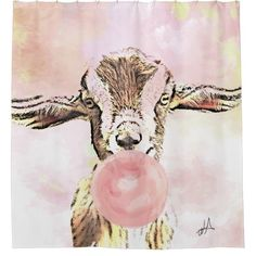 Shop Airplane Ears Goat Blows Bubbles with Bubblegum Shower Curtain created by getyergoat. Funny Shower Curtains, Custom Shower Curtains, Diy Goat Toys, Pink Bubbles, Blowing Bubbles, Goat Hay Feeder, Nigerian Goats, Farm Animals Pictures, Goat Pen