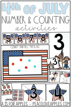 Practice numbers with these patriotic, 4th of July counting activities. Great for toddlers and preschoolers to work on number recognition, one-to-one correspondence, number matching, and more!