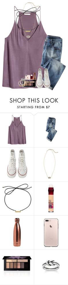 """study date with ella today"" by kyliegrace ❤ liked on Polyvore featuring H&M, Converse, Kendra Scott, Laundry by Shelli Segal, Maybelline, S'well, Smashbox, Avery and Alex and Ani"