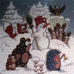 (2015-02) Snevejr med ræven, harerne, uglen, bjørnene, snemanden; pindsvinet…