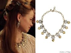 """In the episode 2x09 (""""Acts of War"""") Princess Claude wears this sold out J.Crew Gold-Tone Crystal Necklace. Worn with Moyna capelet."""