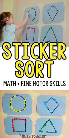 STICKER SHAPES: A quick and easy fine motor skills activity that toddlers will love! This easy small motors activity is perfect for toddlers; a quick and easy preschool math activity; easy indoor activity from Busy Toddler Babysitting Activities, Motor Skills Activities, Toddler Learning Activities, Math Skills, Shape Activities For Preschoolers, Educational Crafts For Toddlers, Easy Crafts For Toddlers, Activities For 3 Year Olds, Preschool Fine Motor Skills