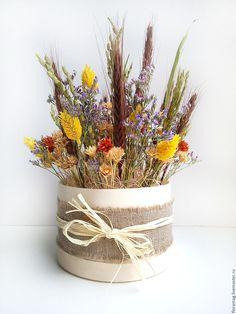 """Композиция """"Русские мотивы"""" - оранжевый, прованс, пшеница, береста, интерьерное украшение, сухоцветы, пшеница"""