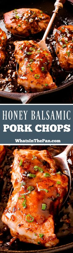 Honey Balsamic Pork Chops are juicy and tender boneless pork chops that are seared and coated in a mouthwatering honey balsamic sauce. The sauce is perfectly smooth thanks to Dijon mustard and is packed with flavor from fresh rosemary and fresh thyme. Gluten free recipe made in cast iron skillet. #Dinner #Pork #castiron