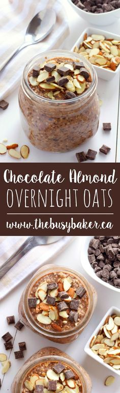 How great are these Chocolate Almond Overnight Oats from www.thebusybaker.ca! Perfect for a back to school breakfast!