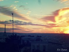 Montmartre sunset over the city of love and lights.