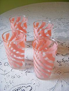 Hazel Atlas pink swirl glasses