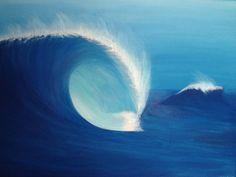 Wave  Original Acrylic Painting  45 x 60 cm by BluePeriodArt, $70.00