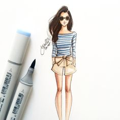 """""""By the sea obsessed with these shorts @sarahkjp ⚓️⛵️ #fashionsketch #fashionillustrator #fashionillustration #bostonblogger #bostonillustrator…"""""""