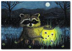 Raccoon Fireflies Wildlife Moonlight  - Art Print by Bihrle cc9