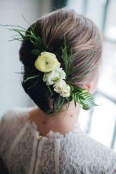 24 Stunning Greenery Wedding Hair Ideas ❤️ greenery wedding hair ideas french twist with white roses and greenery your wedding project ❤️ See more: http://www.weddingforward.com/greenery-wedding-hair-ideas/ #weddingforward #wedding #bride #weddinghairstyles #bridalhairdo #greeneryweddinghairideas
