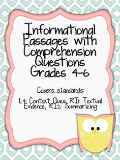 Informational Passages with Comprehension Questions Grades 4-6