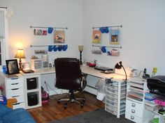 My scrapbook room with Ikea tables and organizing system