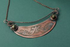 Copper necklace  Rustic necklace  Wire wrapped by StasyaWireWrap