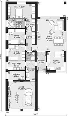 Rzut parteru projektu Dom przy Pastelowej 9 Small House Floor Plans, Lake House Plans, Best House Plans, Dream House Plans, Flat House Design, Modern House Design, Architecture Plan, Residential Architecture, Interior Design Layout